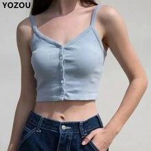 Vrouwen Button Up Crop Camis Top Brandy Melville Crop Top Cropped Cami Vrouwelijke Effen Basic Slanke Top