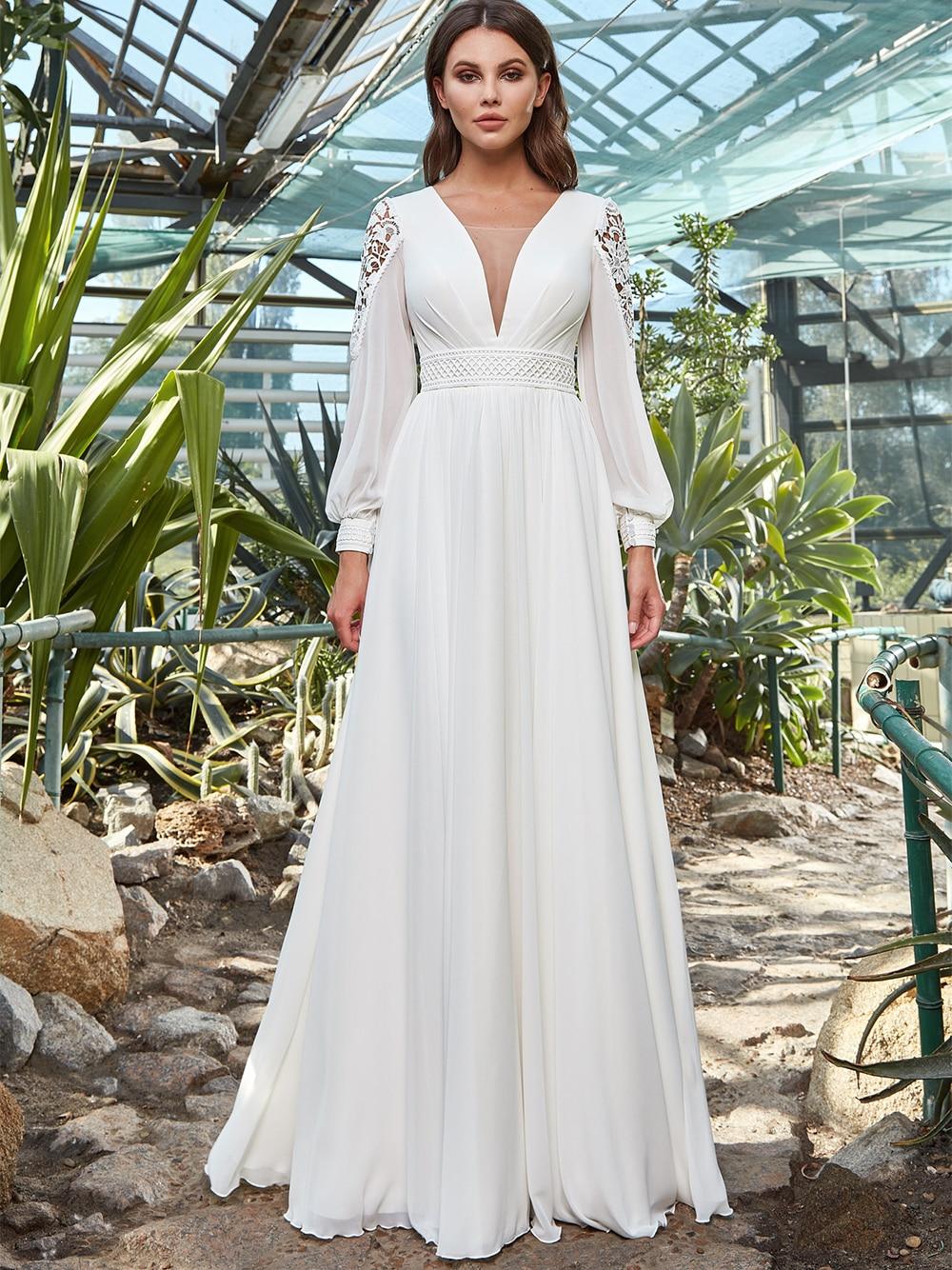 bohemian-beach-chiffon-a-line-wedding-dress-v-neck-simple-cut-out-2021-lace-long-sleeves-corset-back-bridesmaid-bridal-gowns
