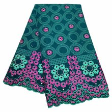 Latest Swiss Voile Lace cotton material Embroidery Green Nigerian Lace Fabric For Women Dress 5Yard