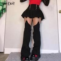 insdoit punk grunge patchwork pants skirt women gothic black streetwear harajuku pockets skirts aesthetic sexy high waist skirts