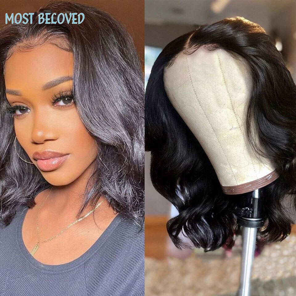 Body Wave Short Bob Wig 13x4x1 Lace Front Human Hair Wigs Peruvian Weave T Part Lace Frontal Closure