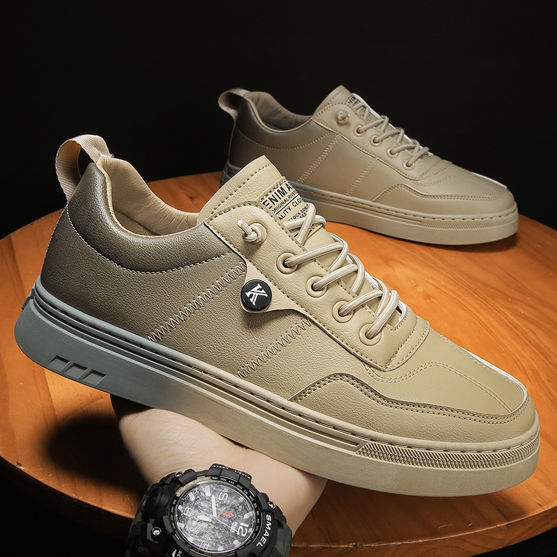 Autumn Pu Leather Men Shoes Low Top Men Youth Casual Shoes Brand Designer Mens Fashion Footwear Lace