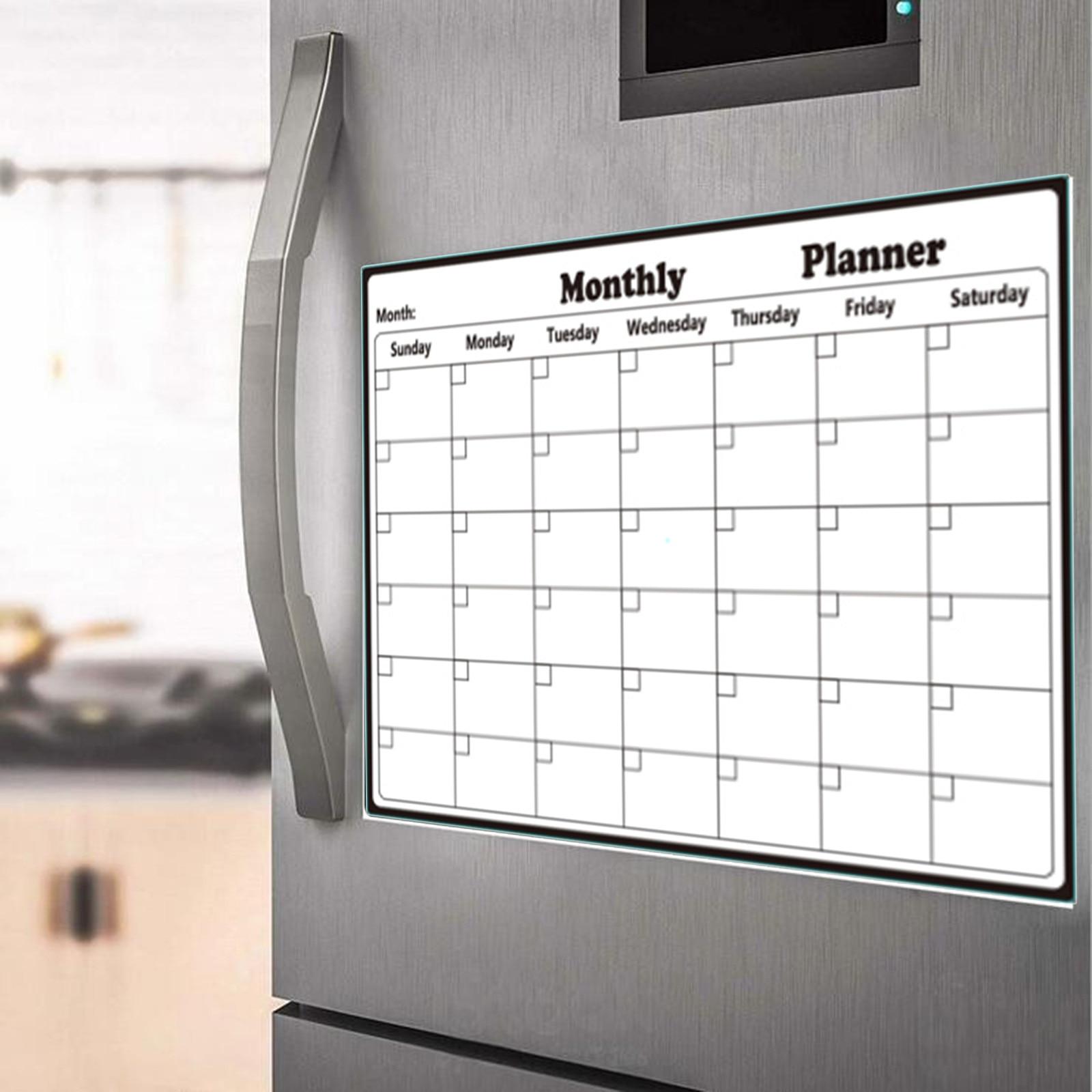 Simple Magnetic Dry Erased Refrigerator Whiteboard Kitchen Fridge Calendar Message Board Student Kids Monthly Planner Board #5