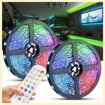 Christmas Decorations 2022 LED Strip RGB 5050 No Waterproof Bluetooth Control Sync With Music For Furniture Home Decorate Lights