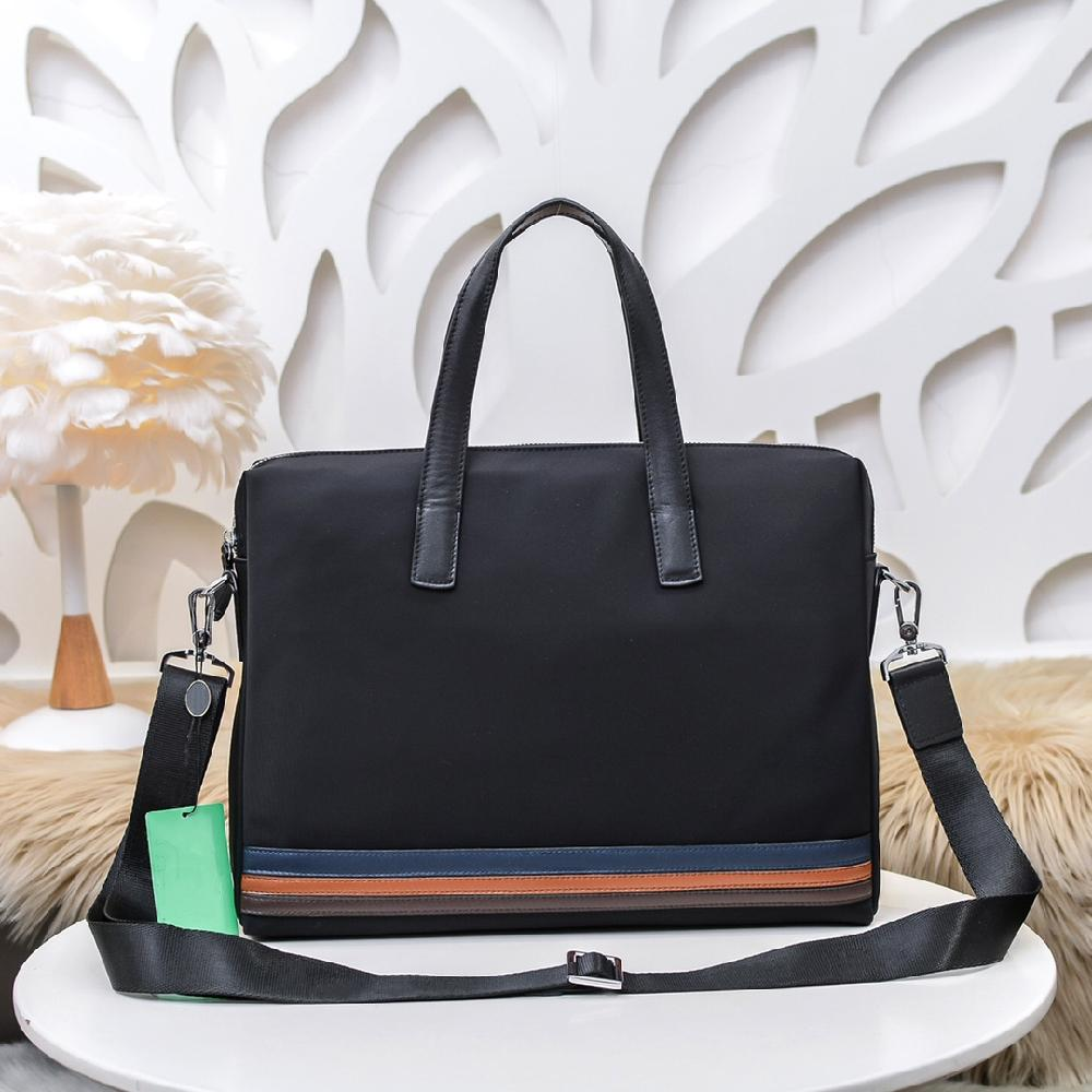 2021unisex canvas with leather black color stripes briefcase high quality laptop large capacity retro fashion waterproof handbag