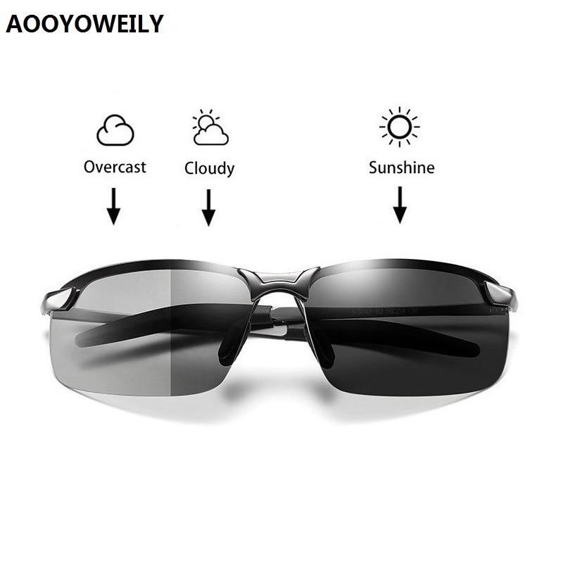 Men's Photochromic Polarized Sunglasses Men Driving Chameleon Glasses Male Change Color Sun Glasses