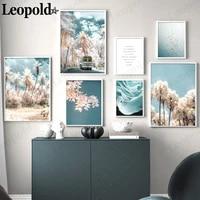 nordic minimalist landscape canvas poster sky cloud cherry tree car bird painting wall art modern living room home decoration
