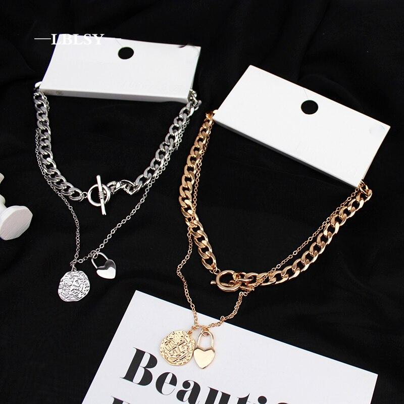 Collar gótico accesorios estéticos joyería gótico cadena de oro bohemio punk moda hip hop joyería cadenas colgantes para hombres y mujeres