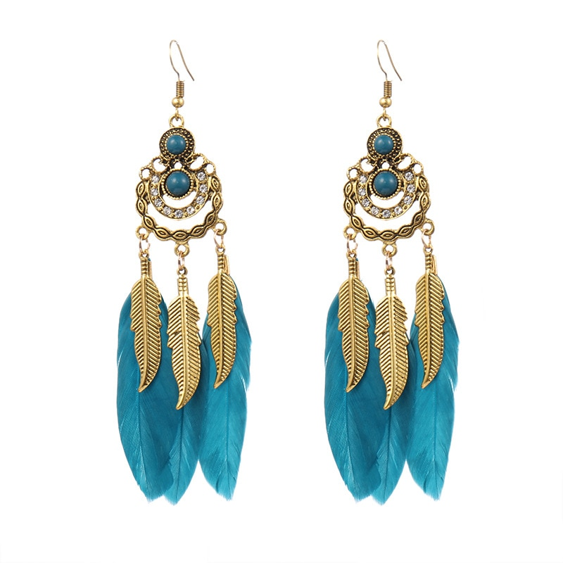 CRUOSE Wholesale creative new diamond inlaid retro Feather Earrings women's jewelry leaves long tassel Tribal Style Earrings