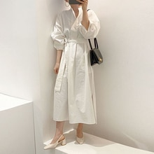 Autumn New 2021 Solid Color Simplicity Japanese Style Fashion Casual Dress Split Fork Long Sleeve Lo