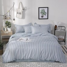 Simple Blue White Stripe Printed Girl Bed Cover Set Duvet Cover Adult Child Bed Sheet Pillowcase Comforter Bedding Set 61010
