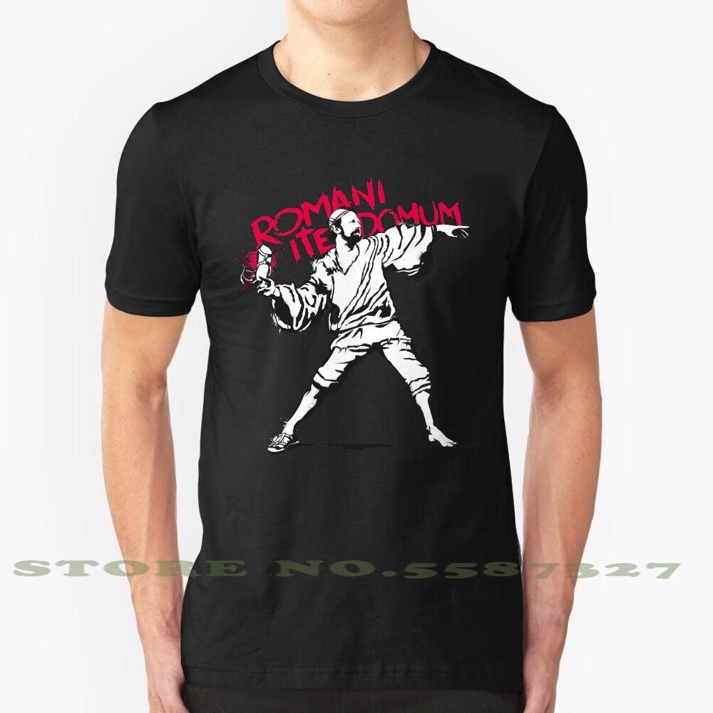Camiseta blanca y negra de Romani Ite Domum para hombres y mujeres, plantilla divertida de Graffiti, arte callejero Banksy Brian Life Circus Flying Jesus