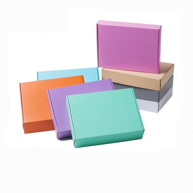 10Pcs Color Kraft Box 3-layer Corrugated Gift Box Photo Album Express Box Square Packaging Boxes Cardboard Carton