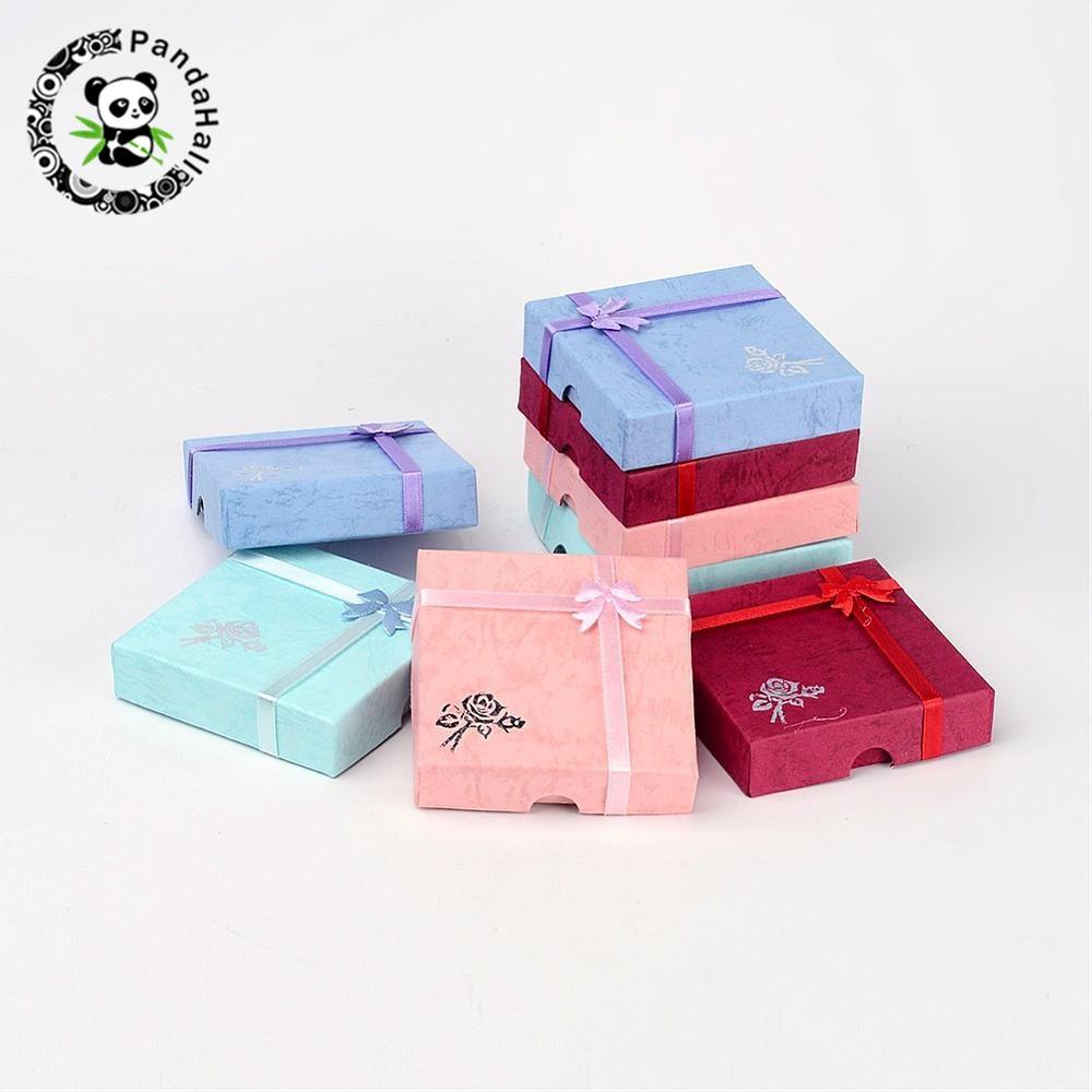 12 Uds. Cajas de Regalo de joyería, pulseras, pendientes, anillo, collar, conjunto de joyería, caja cuadrada redonda, cajas de embalaje, expositor de cartón mezclado