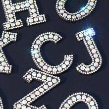 Strass de 26 lettres anglaises   Écusson, nombre 3D, Alphabet, Applique, 1-9 pièces, Badges, fer, pour nom, vêtements de bricolage