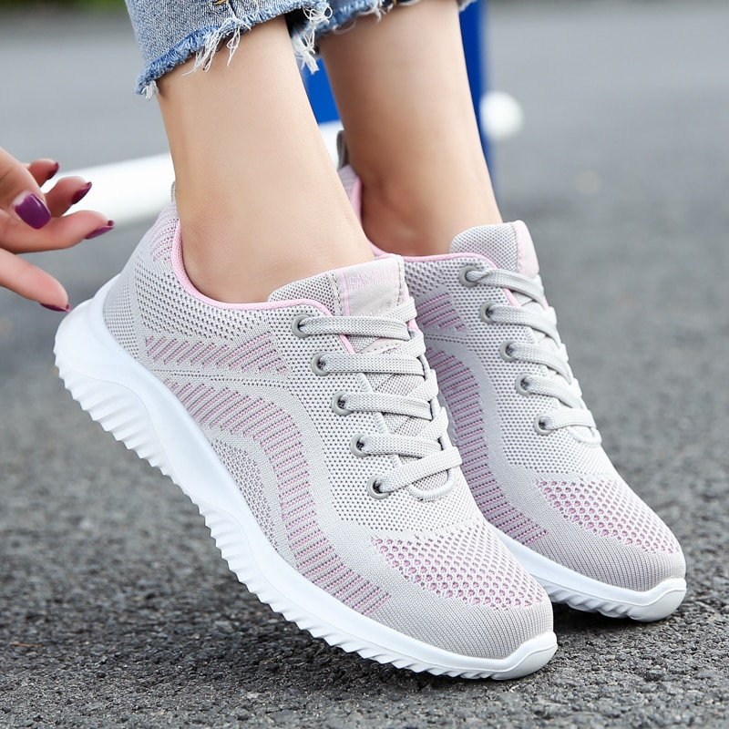 Women Ladies Summer Fashion Breathable Light Mesh Basket Vulcanize Flats Lace Up Tenis Casual Running Gym Female Sneakers Shoes fashion women sneakers casual shoes female mesh summer shoes breathable trainers ladies basket femme tenis feminino