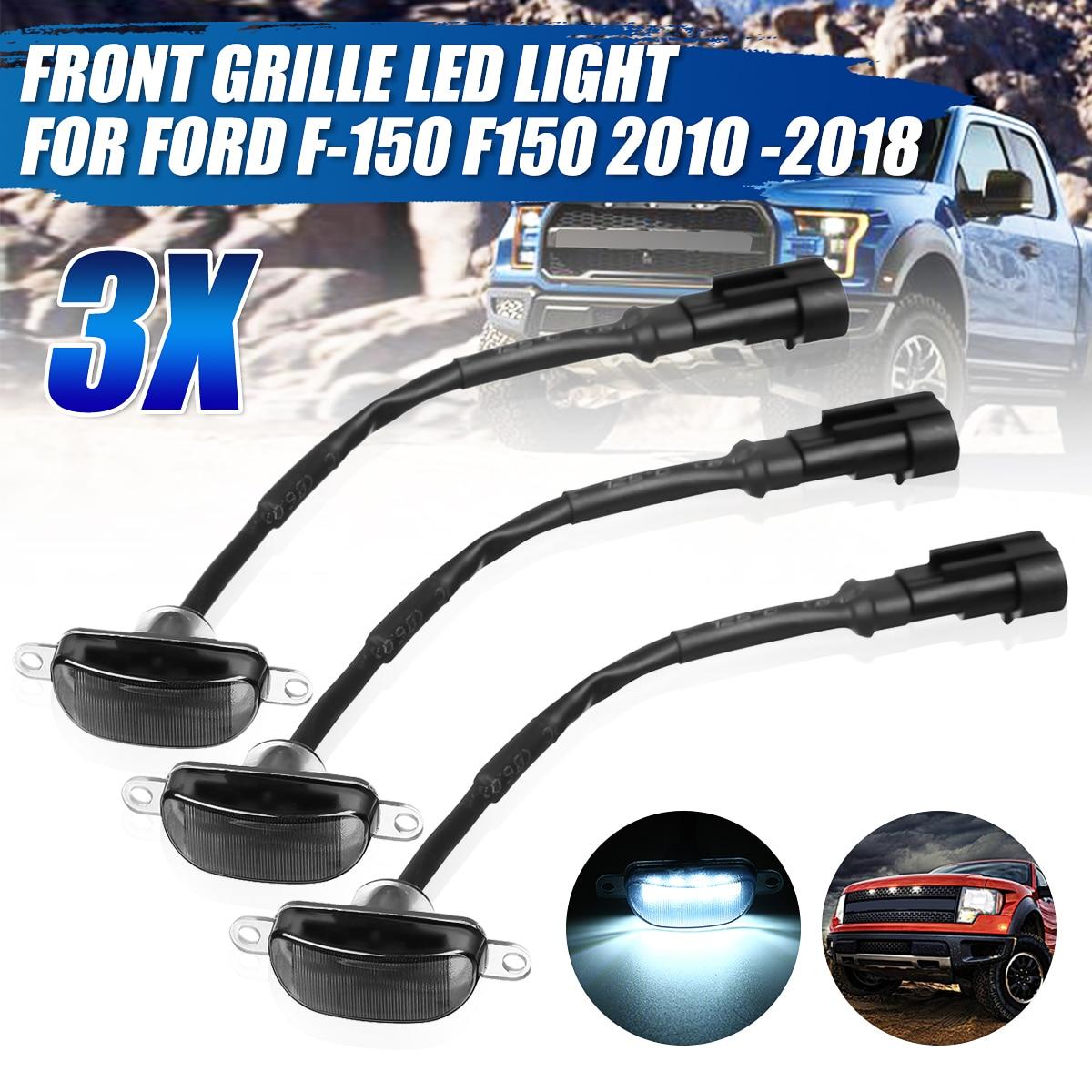 3 uds coche LED parrilla luz Raptor estilo Parrilla de humo para Ford F-150 F150 2010, 2011, 2012, 2013, 2014, 2015, 2016, 2017, 2018