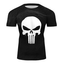 Mens The Punisher Skull Short Sleeve Training Tee Shirts for MMA BJJ JiuJitsu Men Fitness Muscle Top Tshirt