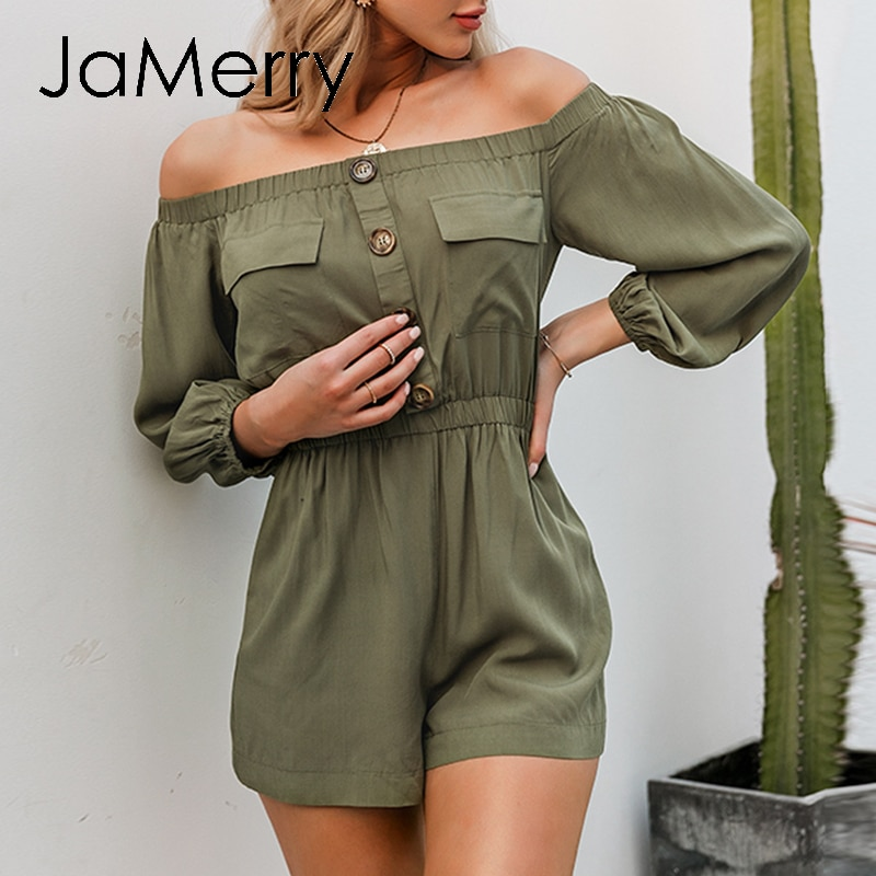 JaMerry sexy hombro mujeres vestido Casual manga linterna botones peleles con bolsillos mono Primavera Verano OFICINA DE