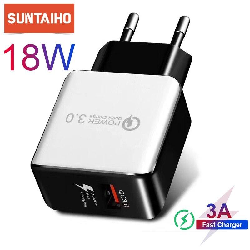 Cargador rápido Suntaiho de 3,0, 18W para iPhone 11, adaptador de enchufe US EU para Samsung S10 Xiaomi, cargador de teléfono móvil Huawei