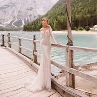 sexy wedding dresses lace tassel pleat sweetheart full sleeve covered button mermaid bridal gowns novia do 2021
