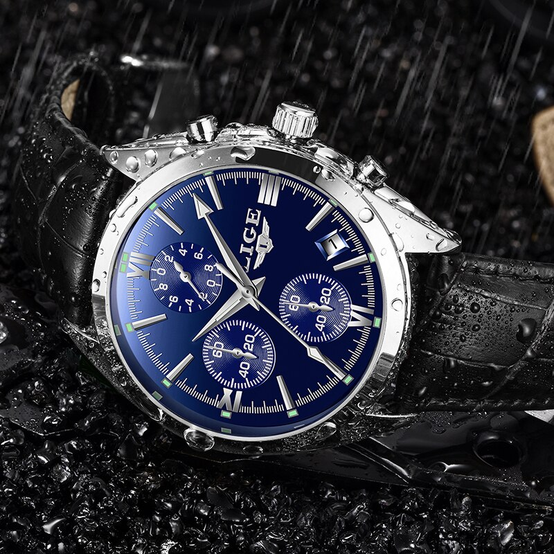 LIGE-Reloj de pulsera militar para hombre, reloj de pulsera con cronógrafo de lujo resistente al agua y de alta calidad para hombre