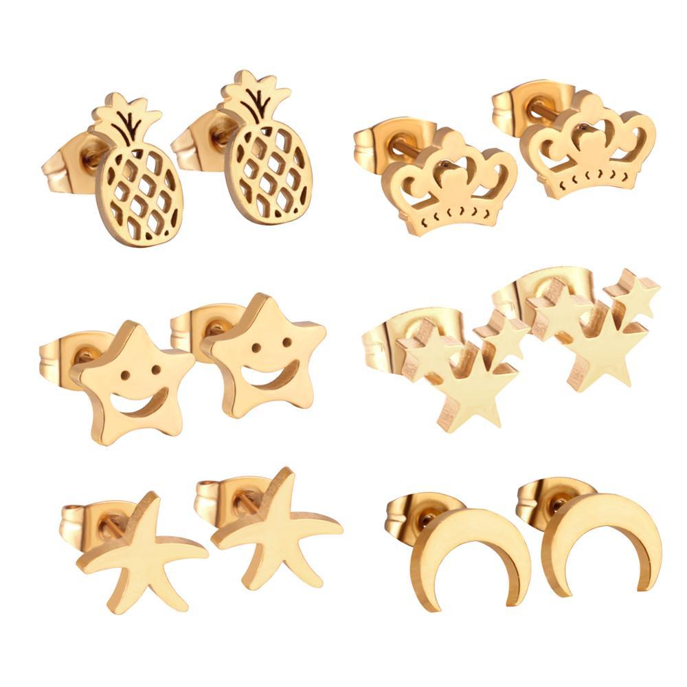 Роскошные ювелирные изделия 6 пар/кор. серьги-гвоздики из нержавеющей стали милые звезды brincos для женщин модные рождественские Серьги pendientes