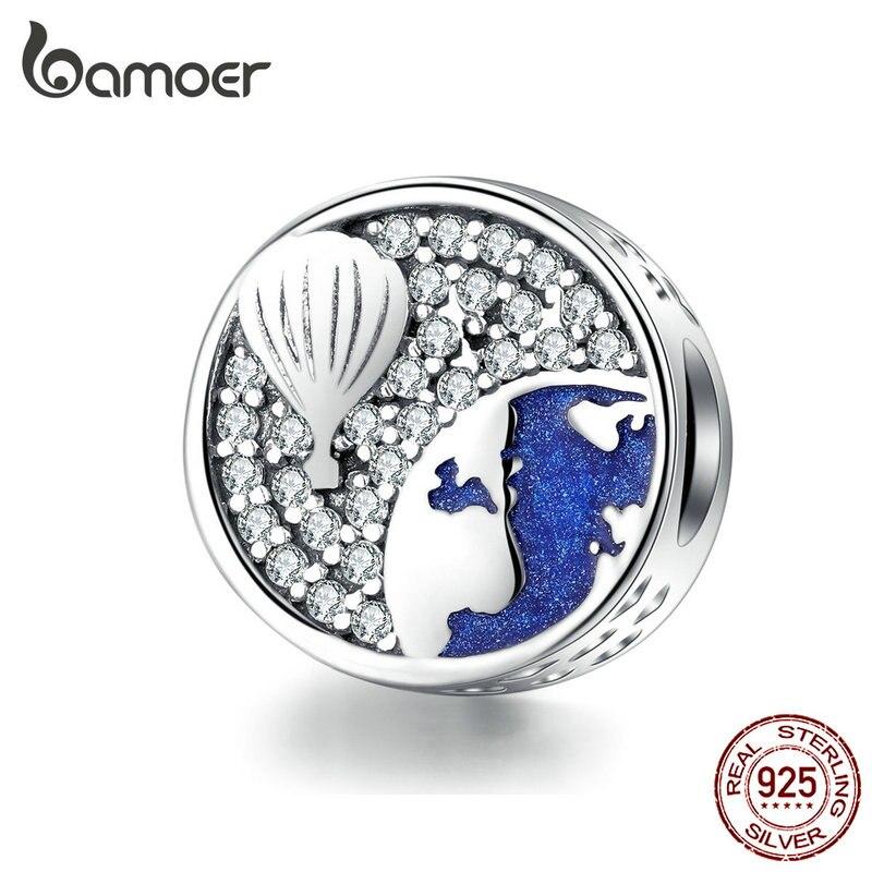 bamoer Round Metal Beads for Women Charms Silver 925 Original Bracelet & Bangle Jewelry Air Balloon Blue Enamel Charm SCC1345
