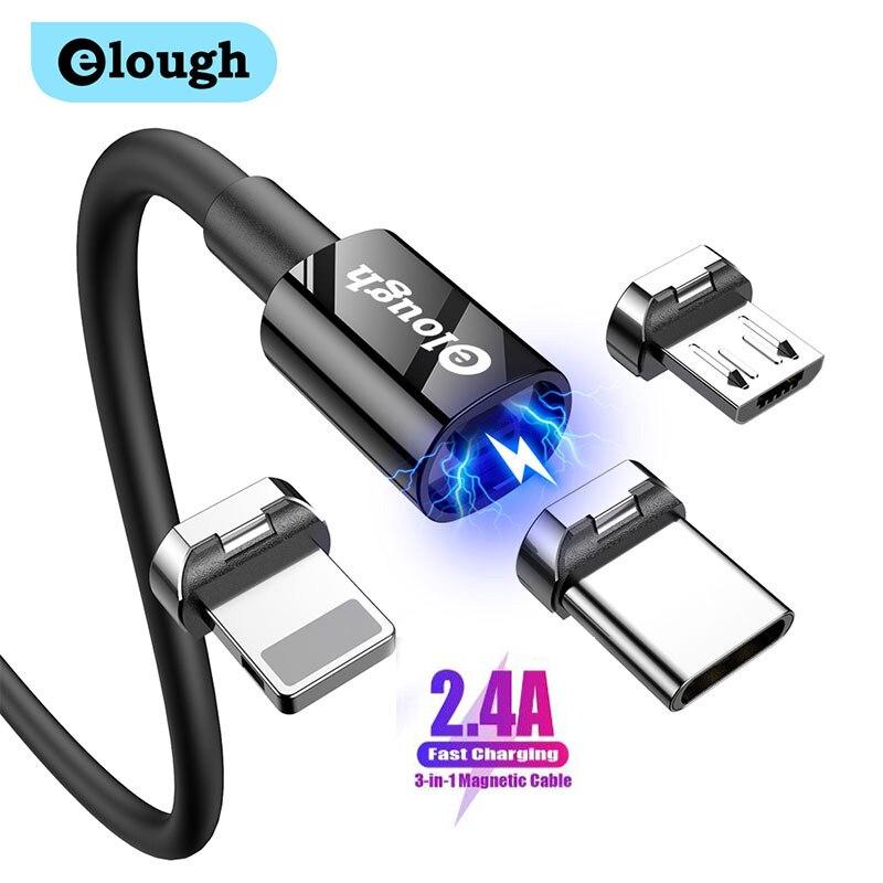 Elough-Cable magnético de carga rápida de 2.4A, cargador magnético, Micro USB C,...