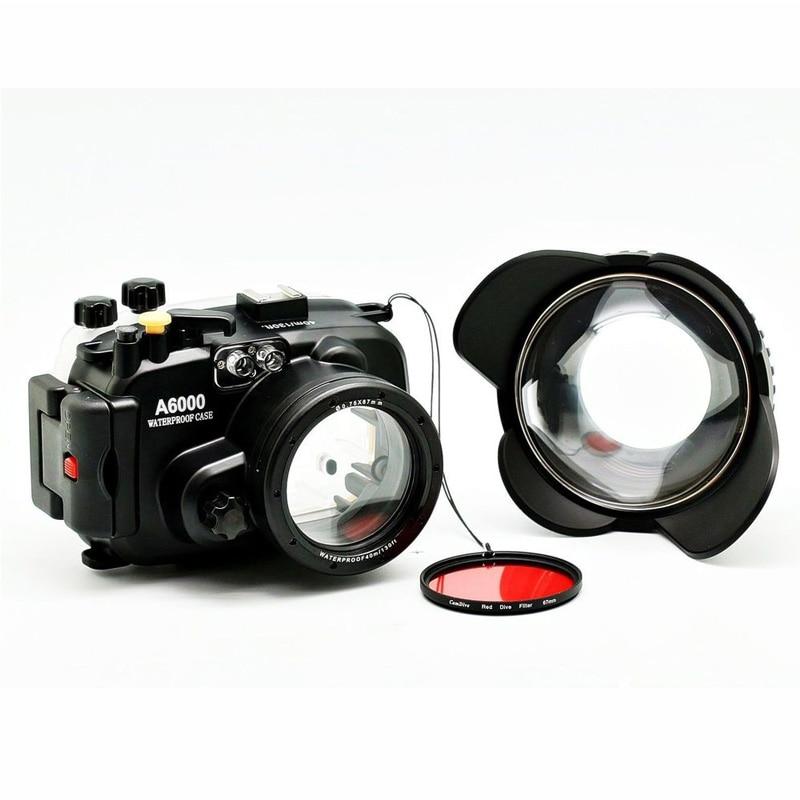 40 m/130ft A6000 para Sony (16-50) carcasa de cámara subacuática + lente gran angular de puerto de cúpula + 67mm Filtro de buceo rojo