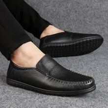 Genuine Leather Men Casual Shoes Brand 2021 Men Loafers Man Moccasins Breathable Slip On Black Drivi