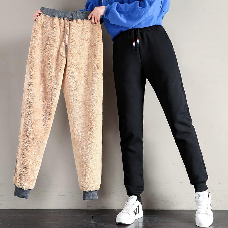 Women Winter Thick Lambskin Cashmere Pants Warm Female Casual Cotton Pants Loose Harlan Long Trouser