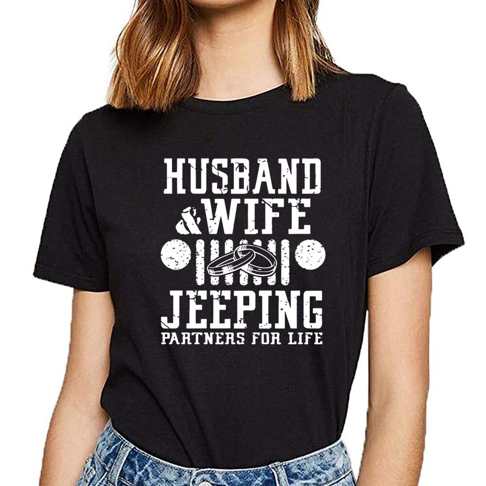 Tops camiseta mujer marido y esposa jeeping partners for life Basic negro imprimir camiseta femenina