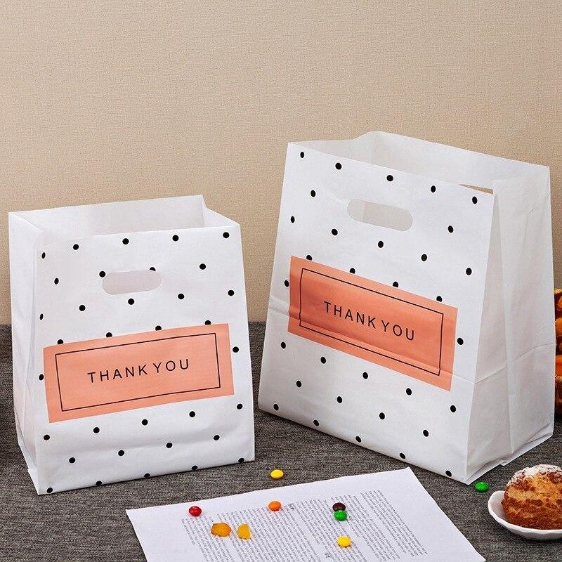 أكياس هدايا بلاستيكية شكرا لك ، وأكياس هدايا بمقبض ، وأكياس تغليف الحلوى والكعك لحفلات الزفاف والكريسماس ، وأكياس تغليف ، 50 قطعة