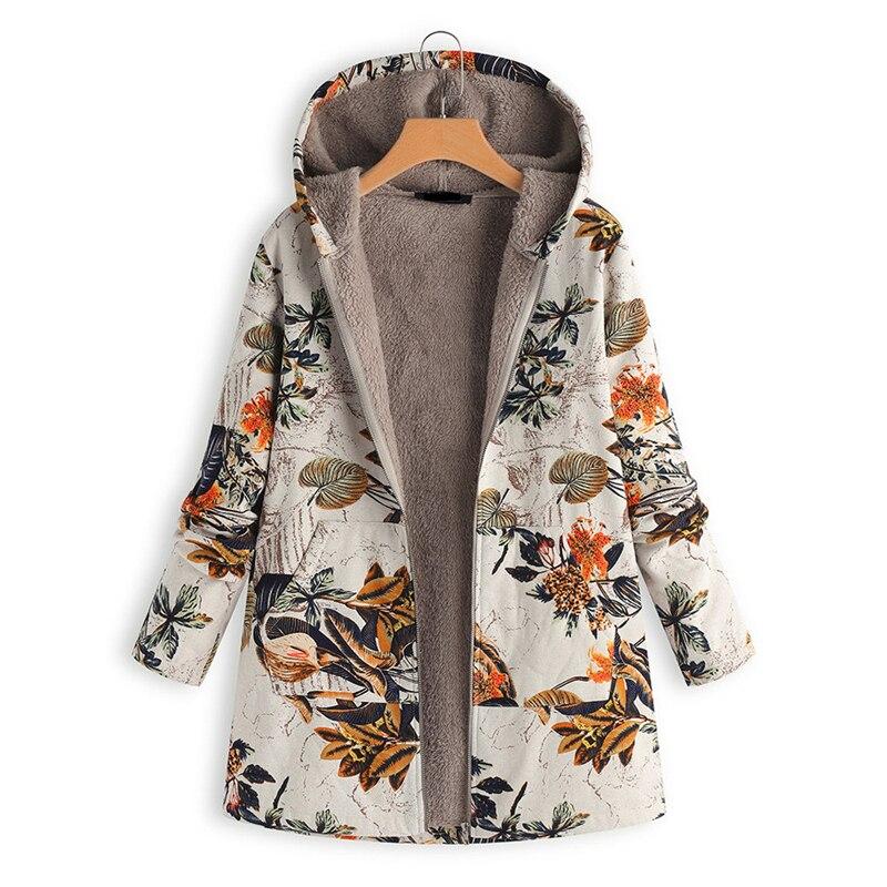 Осень-зима 2021, женские теплые пальто, винтажная Женская Цветочная куртка с капюшоном, худи с цветочным принтом, парки с длинным рукавом и под...