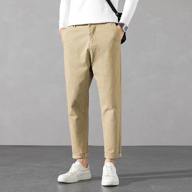 Мужские повседневные брюки, новинка 2021, Осенние Молодежные леггинсы, мужские однотонные свободные леггинсы, трендовые маленькие Леггинсы, ...