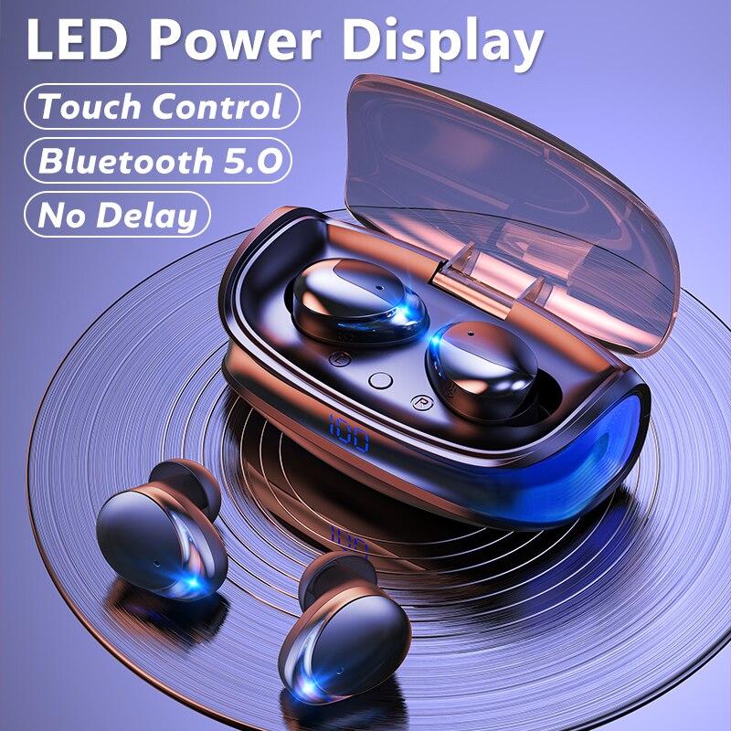 Fones de Ouvido Música sem Fio Fone com Microfones 5.0 para o Telefone Bluetooth Alta Fidelidade Estéreo Led Power Display Earbud Tws 9d