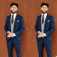 plaid formal blue check wedding suits set blazer masculino custom made peaked lapel jacketvestpants 3 pieces groom tuxedos
