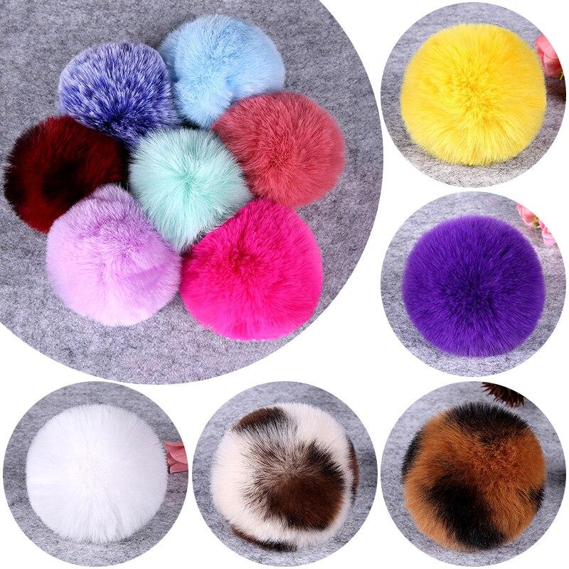 8cm DIY invierno suave y esponjoso Rex piel de conejo pompón bola peluda Artificial para bolsas gorros gorro de pompón Accesorios