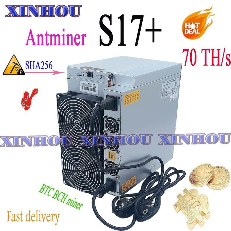 Bitmain Antminer S17 + 70T sha256 BTC Биткоин Майнер лучше, чем Asic S17 T17 S9 T9 Innosilicon T2T T3 WhatsMiner M20S M21S M30S