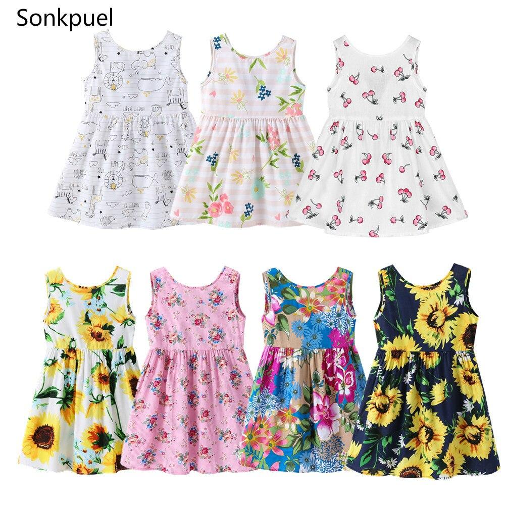 От 1 до 7 лет; Одежда без рукавов для маленьких девочек; Платья с цветочным принтом Одежда Для детей, на лето платье принцессы для девочек, детские вечерние мяч Праздничное платье наряд|Платья для девочек| | АлиЭкспресс