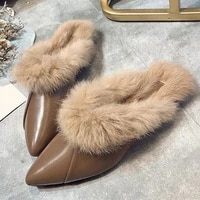 hot women furry slippers autumn fashion pointed toe mules for woman ladies warm fur casual flats womens shoes female footwear