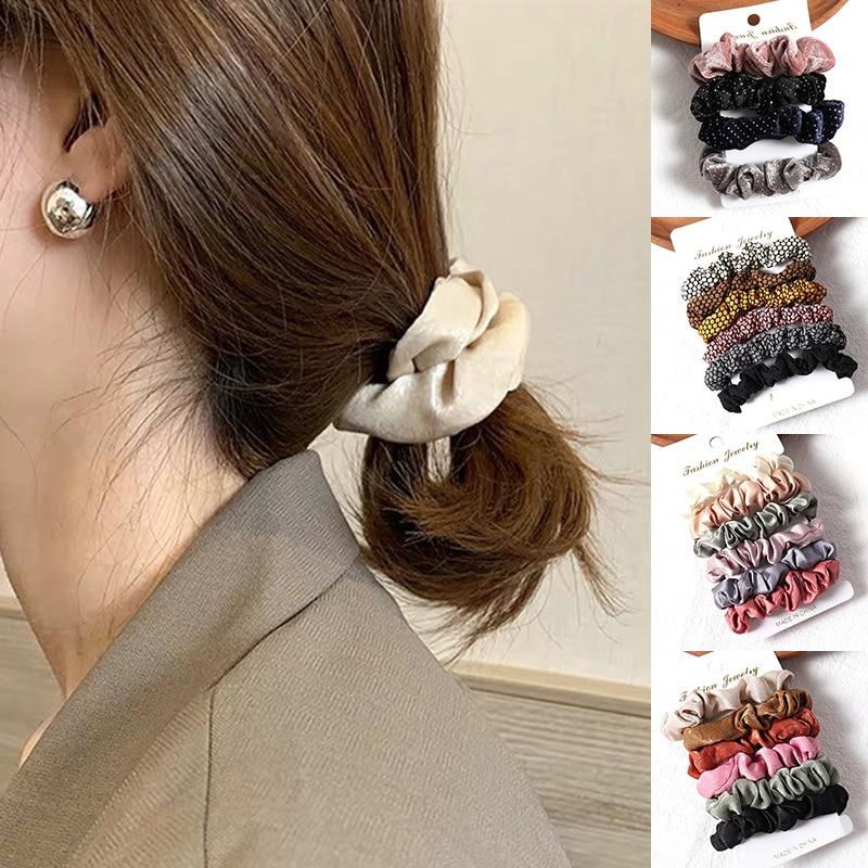 De moda de punto elástico diademas para chicas de cola de caballo de cuerda 1Set cuerda de pelo (4-6 uds) las mujeres banda de goma regalo Retro accesorios para el cabello
