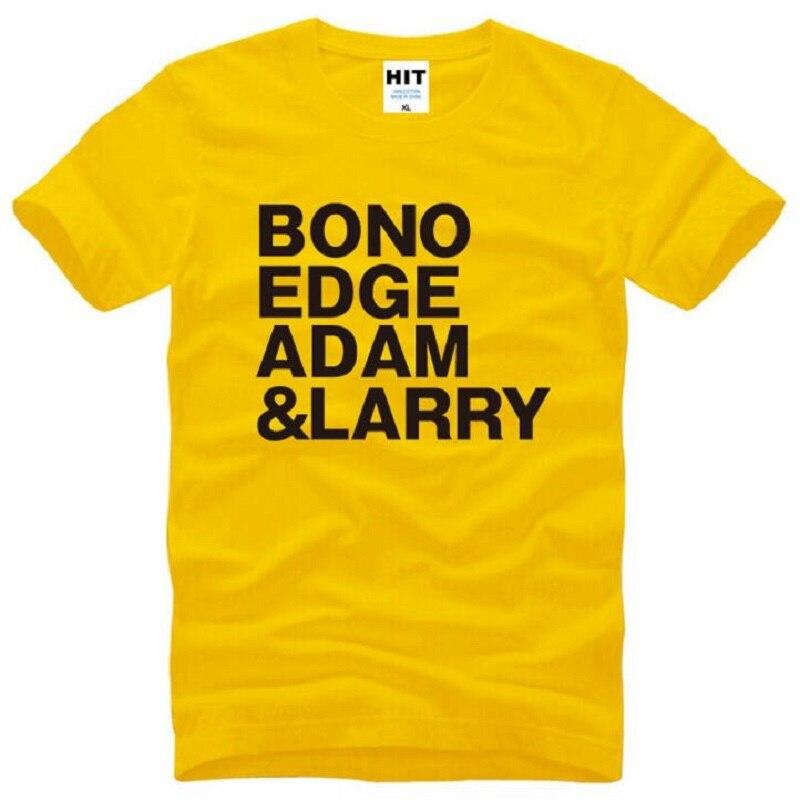 Camisetas para hombre U2 BONO EDGE con estampado de adamon y LARRY, Camiseta de algodón de manga corta y cuello redondo para hombre, camisetas de música Rock a la moda para hombre