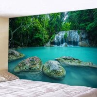 secluded forest waterfall home art tapestry bohemian decorative tapestry hippie yoga mat sheets large size sofa blanket
