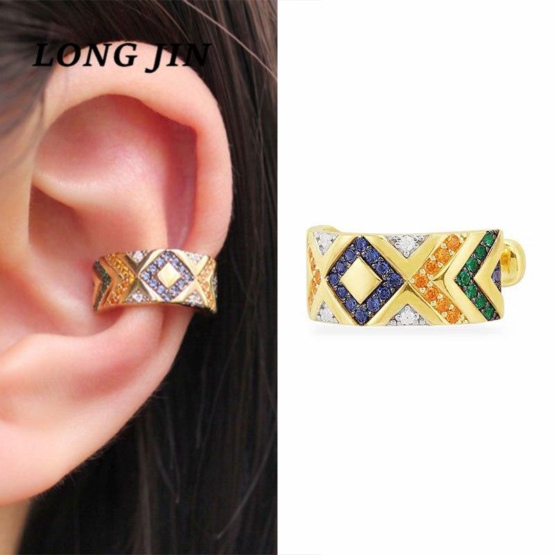Bohemian estilo nacional moda personalidad modelos explosión colorido rayas Clip para hueso del oído mujer Tribal único pendiente joyería