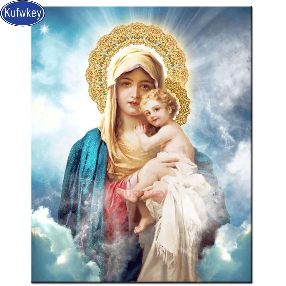 Фото Религиозные иконы алмазная живопись Дева и ребенок полный квадрат круглая