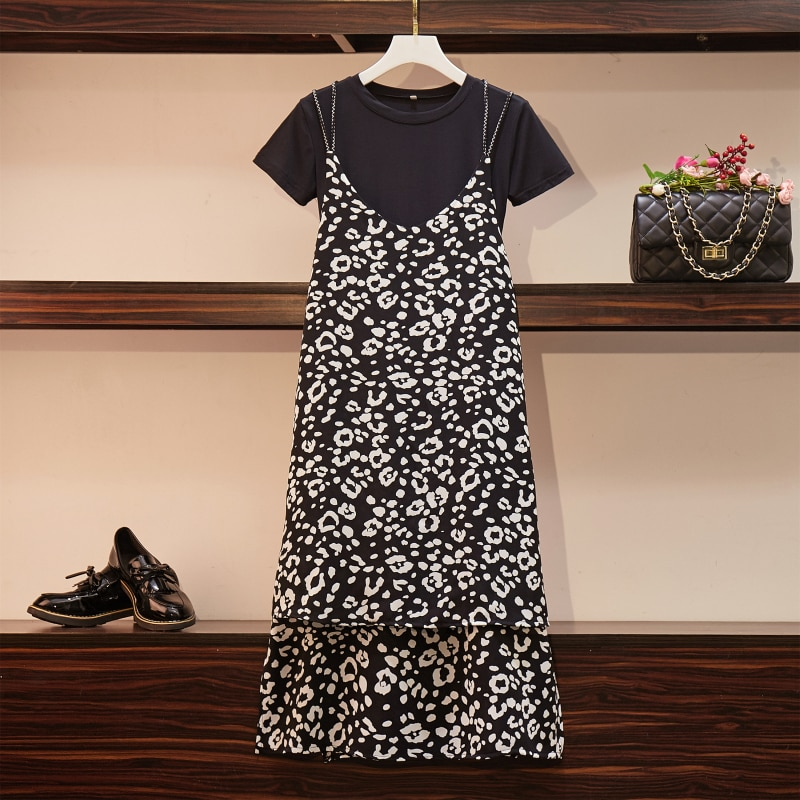 2019 nueva llegada Shudaji corto pradera Chic pulóver cuello redondo cintura elástica Regular media pantorrilla Regular Floral pantorrilla-longitud pantalones Chin