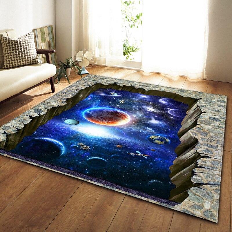 Alfombras nórdicas de Franela suave, alfombras estampadas en 3D, esterilla de espacio para salón galaxia, alfombras grandes antideslizantes para decoración del hogar y la sala de estar