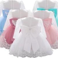 newborn wedding long sleeve baby girl dresses party formal lace big bow dresses infant girl 1st birthday princess baptism dress